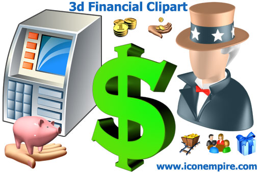 High quality 3d financial clipart for GUI
