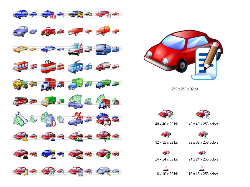 A set of stock icons representing all kinds of vehicles and related objects