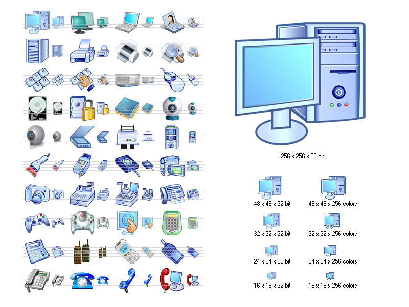 Hardware Icon Set screenshot: stockicons, stock, icon, icons, set, ico, clelection, collection, icone, hard, hardware