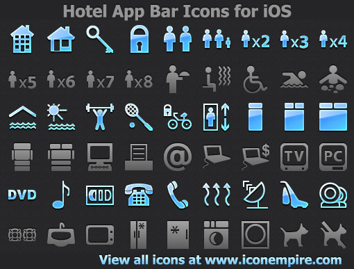 Stylish hotel icons for navigation bars, toolbars, and tab bars for iPhone, iPad