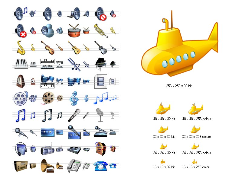 Your products will look more modern and attractive with Music Icon Library. Color formats include Windows XP and 8-bit formats. Available sizes are 16x16, 24x24, 32x32, and 48x48. This icon collection includes sound, music, phone and other icons.