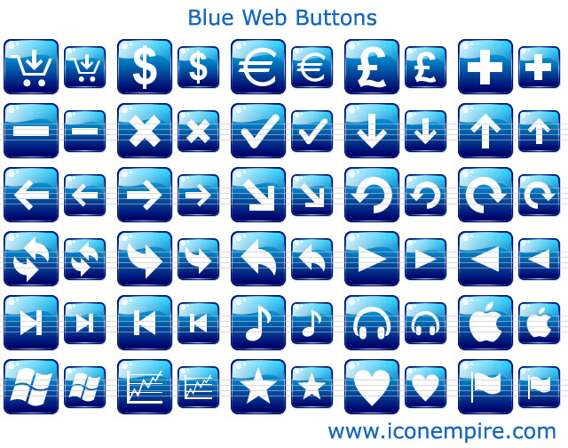 Blue Web Buttons offer a bunch of navigation images for social networks and communication Web sites. The icons are easy on the eye, and provide a uniform theme painted in blue.